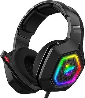 SAIYUAN K10 RGB سماعة رأس سلكية مع ميكروفون لإلغاء الضوضاء سماعات أذن للكمبيوتر الشخصي