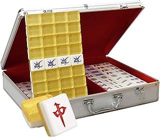 Tile Games Mahjong Household Mahjong Brand High-end Hand Playing Mahjong Card Game Mahjong Chess,144 Sheets (Color : Gold, Size : 37#)
