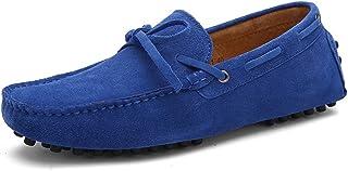 Jamron Hombres Suave Gamuza Mocasines de Conducción Zapatos Hecho a Mano Pantuflas Talla Grande