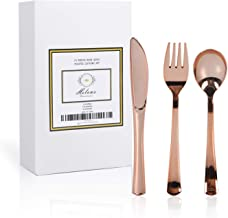 Helen's 75 Piece Rose Gold Disposable Plastic Cutlery Set| Flatware Silverware Premium Quality for Party & Wedding & Cater...