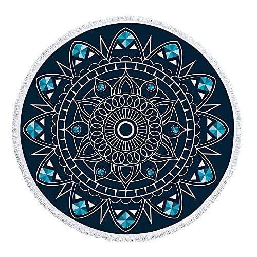 Azul geométrico Abstracto patrón Circular 3D impresión y teñido fácil Limpieza antidesimentado diámetro Unos 150 cm de Toalla de Playa Redonda-C3 Super Absorbente y Toallas de natación