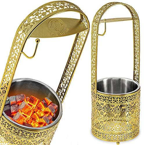 DILAW® Shisha Kohlekorb Oriental Hoch Edelstahl Kohlebehälter für Shisha Kohle & Grill Kohle Char-Basket Holzkohlekörbe mit Sicherheitsgriff Hookah Zubehör, Farbe:Gold