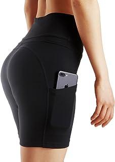 Tesuwel Women's Yoga Shorts Pockets Stretch Tummy Control Workout Athletic Running Bike Shorts