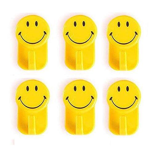 HOKIPO Plastic Self-Adhesive Smiley Face Hooks, 1 Kg Load Capacity, 6 Piece Set