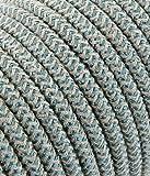 Merlotti 20.383 Cavo Elettrico Rotondo Rivestito in Tessuto, Sabbia/Salvia, 3 Metri