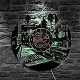 BFMBCHDJ Reloj de Pared de Disco de Vinilo Relojes LED de diseño Moderno con luz de Fondo Mudo 3D Colgante Decorativo Reloj de Pared de CD clásico Decoración para el hogar