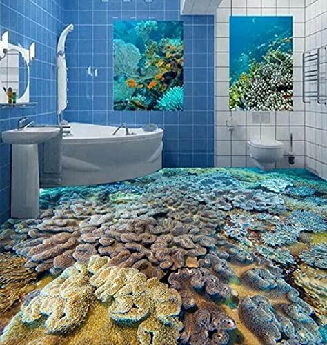Mural De Suelo Autoadhesivo Suelo Personalizado Hd Mundo Submarino Pescado Coral 3D Baldosas Sólidas Decoración De Suelo-400 * 280Cm Decoración Para El Dormitorio De Los Niños, Guardería