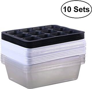 ounona 10unidades bandejas para la Semillas para plantar semillas con 12orificios (blanco)