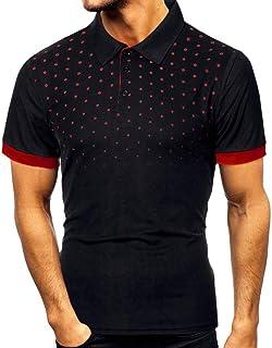 kolila 2020 Men Shirts,Fashion Slim Men's Casual Short Sleeve Patchwork Dot Print T Shirt Personality Top Blouse