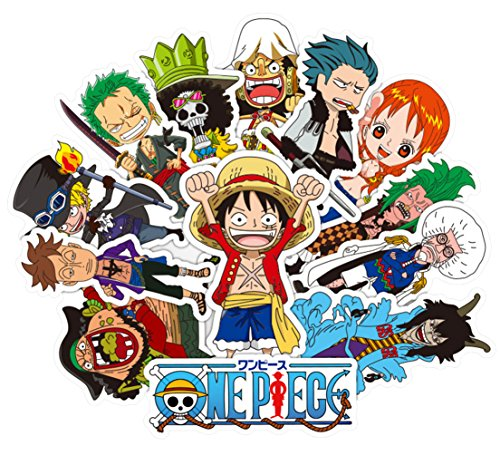 One Piece Anime Cartoon Laptop Stickers Waterproof Skateboard Pad MacBook Car Snowboard Bicycle Luggage Decor (48pcs)