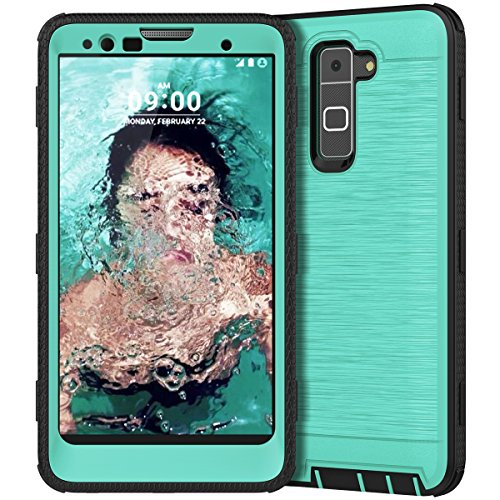 CinoCase LG Stylo 2 Case, LG Stylo 2 Plus Case, Heavy Duty Rugged Armor Protective Case Hybrid TPU Bumper Shockproof Case with Brushed Metal Texture Hard PC Back for LG Stylo 2(LS775)/Stylus 2 Mint