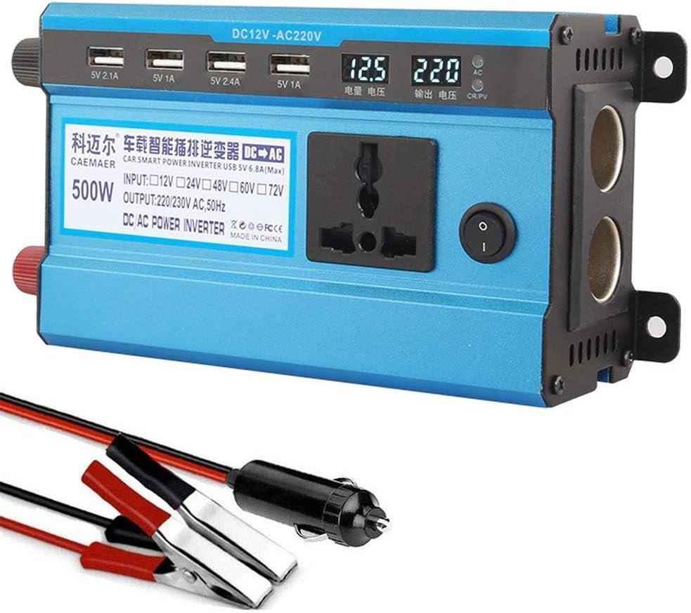 Inversor de Potencia de Onda sinusoidal Pura 500W, inversor de Coche DC 12V / 24V a 220V / 230V convertidor con 4 Puertos USB, Pantalla LCD, 2 adaptadores de Cigarrillos, para
