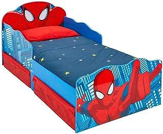 PEGANE Lit Enfant Spiderman Design tiroirs de Rangement tête de lit Lumineuse - Dim : 143 x 77 x 63 cm