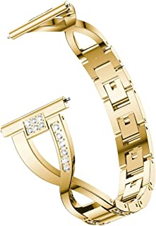 JUNSHEN Smart Watch Bands JUNSHEN X-Shaped Diamond-Studded Solid Stainless Steel Wrist Strap Watch Band for Galaxy Watch 46mm(Black) (Color : Gold)