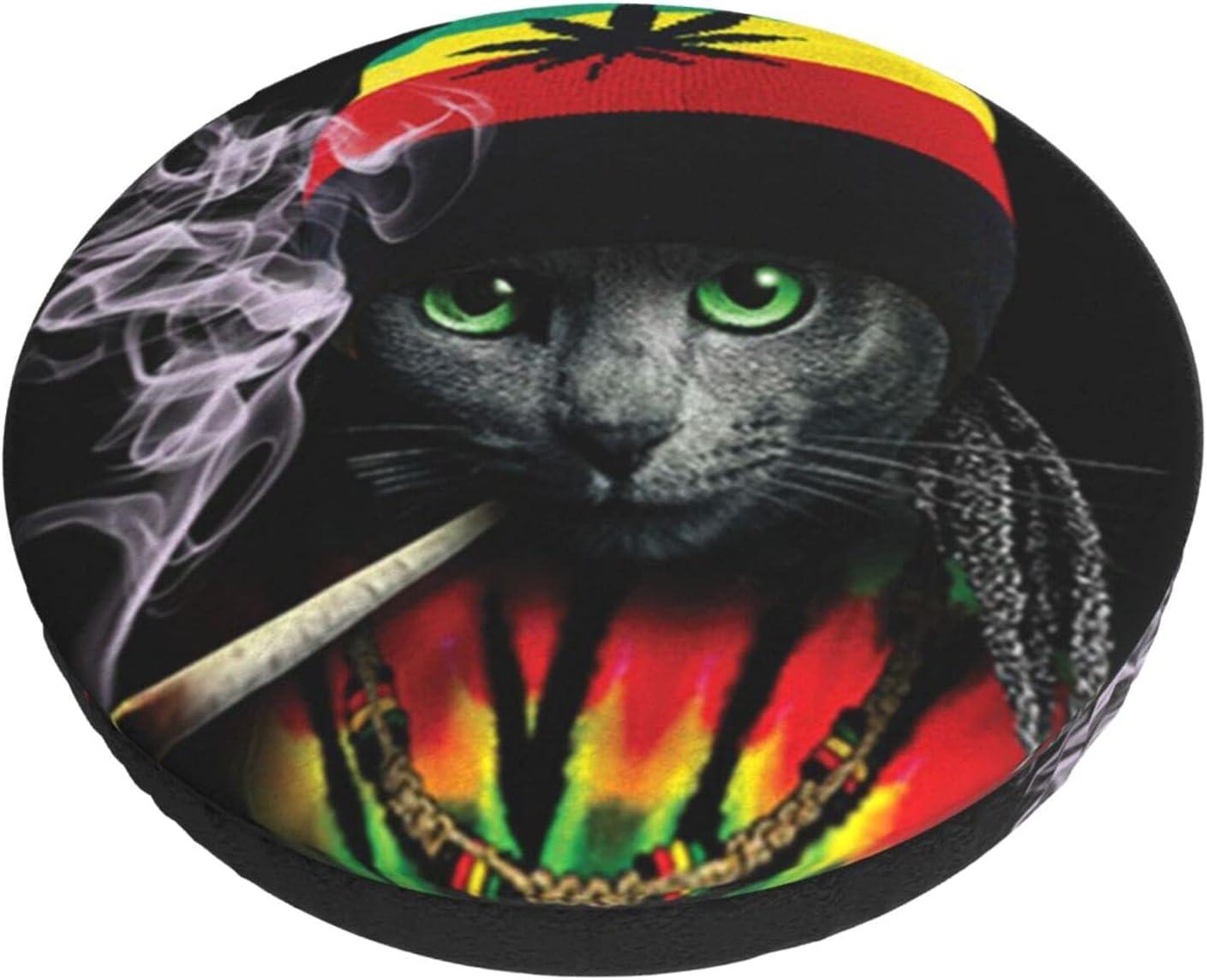 Cat with Marijuana Hat 40% OFF Cheap Sale Smoking Cannabis Stool C Very popular Round Bar Lounge