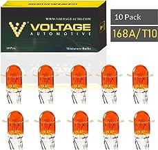 Voltage Automotive 168A 168 Amber T10 Bulb For License Plate Light Side Marker Automotive Interior Light Dashboard Dome Li...