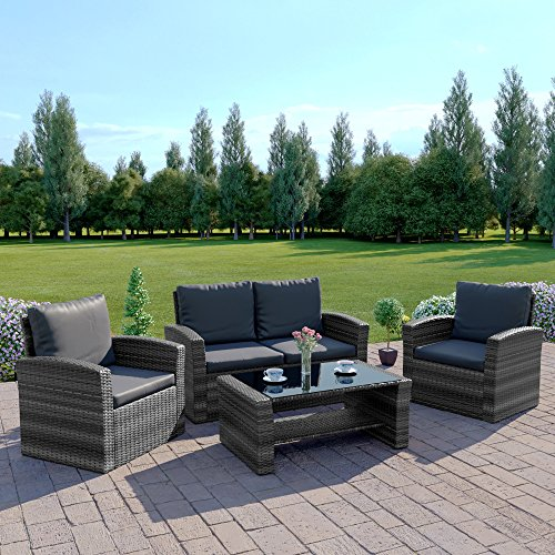 Abreo Mixed Grey Rattan Weave Sofa Set Garden Furniture Conservatory Light/Dark Cushions (Dark Mixed Grey with Dark Cushions, 2 Seater Sofa)