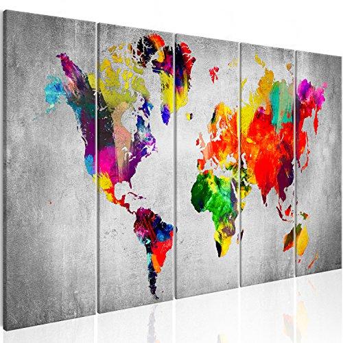 murando - Bilder Weltkarte 200x80 cm Vlies Leinwandbild 5 Teilig Kunstdruck modern Wandbilder XXL Wanddekoration Design Wand Bild - Abstrakt bunt Landkarte Reise k-A-0236-b-m