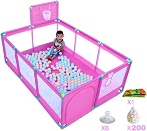 DZWSD Baby Playpen Playard  Children s Play Play Space Lightweight Mesh Baby Playpen Basketball Box Puzzle Game Fence  Indoor and Outdoor Game Center Activities