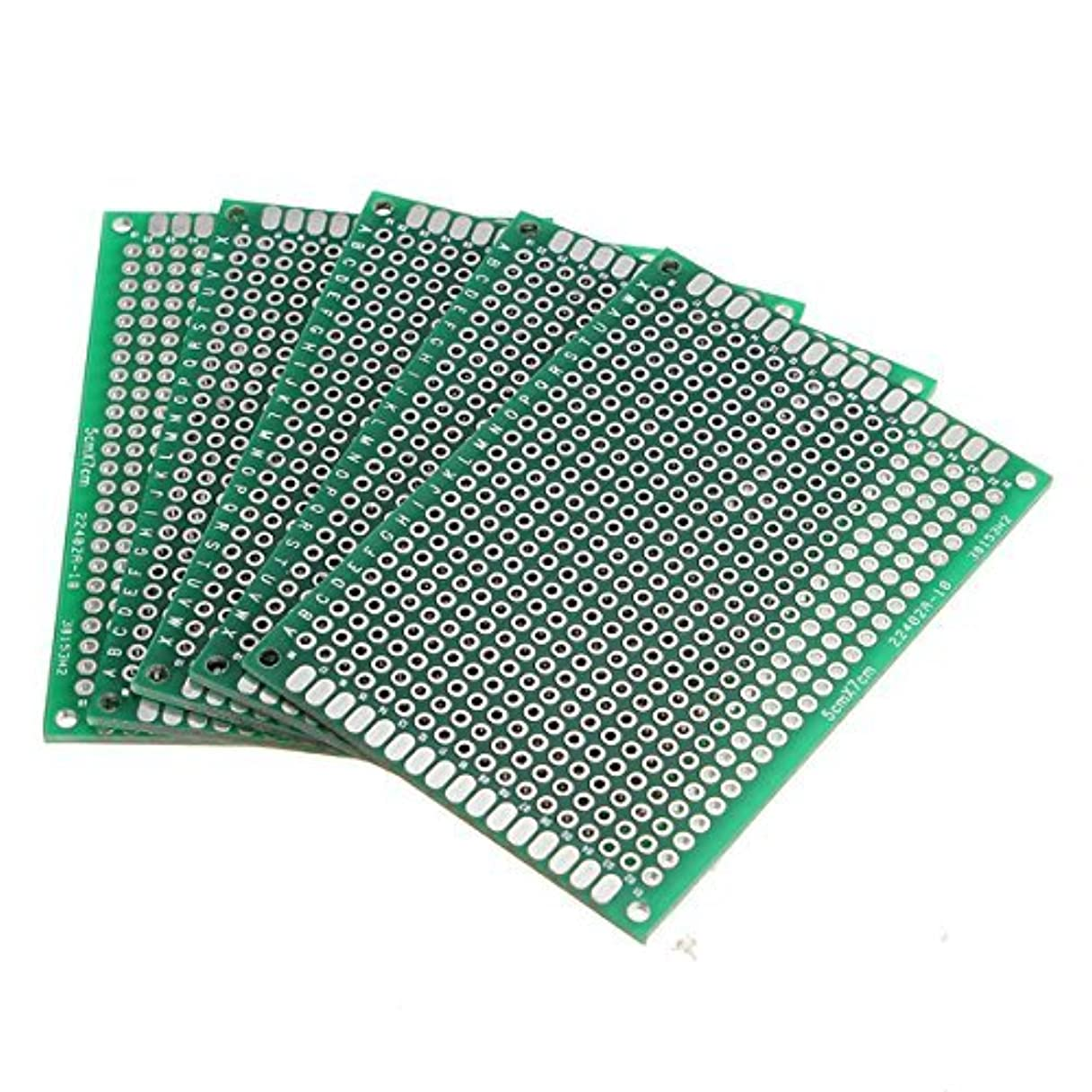 有名染料エレメンタルElec4U セット両面スズメッキ ユニバーサルプロトタイピングボード, はんだ付け可能 ユニバーサルプリント 回路基板,ブレッドボード , プロジェクトサーキット (5x7cm 5枚)