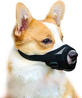 Mayerzon Dog Muzzle with Adjustable Velcro to Prevent Biting Barking and Chewing, Air Mesh Breathable Pet Muzzle for Small...