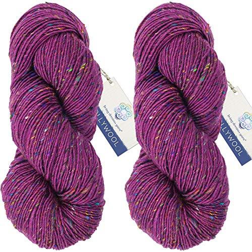 Living Dreams Yarn BOLLYWOOL DK. Super Soft Merino and Sari Silk. Colorful Tweed Yarn with Boho Flair. Homespun in USA. Two Pack, Ahimsa
