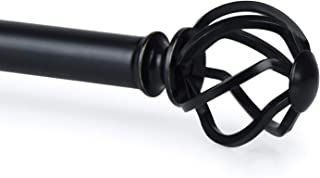 KAMANINA 1 Inch Curtain Rods Single Window Rod 72 to 144 Inches, Twisted Cage Finials, Black Drapery Rod