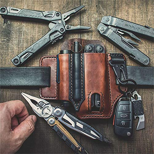 Gaine en Cuir Multifonction EDC Pocket Organizer, EDC Leather Organizer Belt Loop, Leather Pocket Knife Belt Pouch with Key Holder for Pocket Knife Tactical Pen Lampe (Medium-Brown)