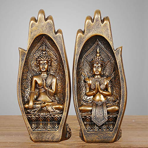 Roman Decor Pair Buddha Palms Bookends,Bless Peace Stop Hand Resin,High-Grade Furnishing Articles Paperweight Ornamental (Gold)