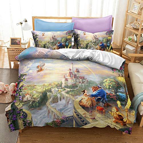 dsgdhfyjjgfjk - Juego de ropa de cama de princesa, funda de edredón de tamaño completo, funda de edredón cómoda (sin sábanas) (La Bella y la Bestia, Super King)