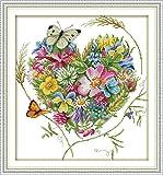 Kit de punto de cruz con estampado de CapitanCrafts para principiantes ni/ños y adultos dise/ño de flores en flor completa Stamped 11CT