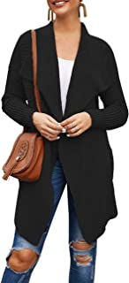 Women's Long Sleeve Lapel Collar Knit Ribbed Open Front Draped Cardigan with Pockets
