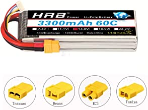 HRB 4S 3300mAh 14.8v Lipo RC Battery 60C Pack with XT60 Plug for RC Airplane, RC Helicopter, RC Car/Truck, RC Boat (EC3/Deans/Traxxas/Tamiya