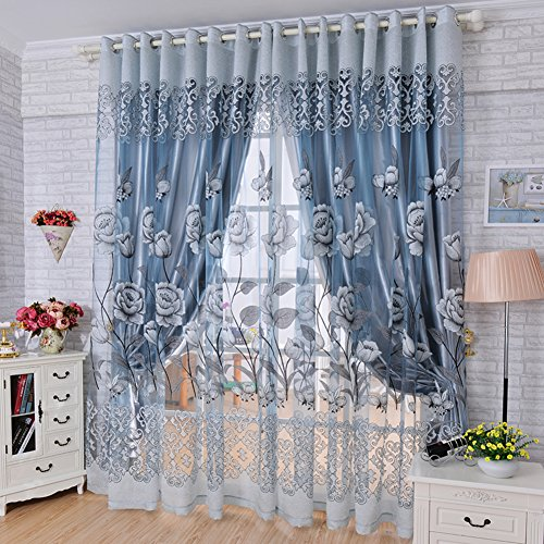 Living curtains bedroom decorative drapes double shade insulation cloth european american printing linen floor nordic princess wind fashion modern set of 2 Panels-B W500xH270cm(197x106inch)