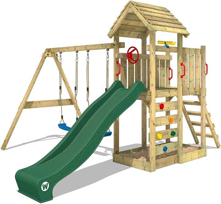Parco giochi in legno multiflyer giochi da giardino verde con altalena e scivolo wickey 817421