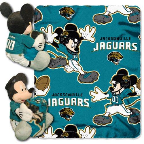 NFL Jacksonville Jaguars Mickey Hugger Pillow & Fleece Throw Blanket Set, 40' x 50'