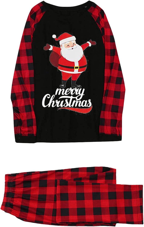 Aotifu Christmas Matching Family Pajamas Sets Loose Cute Santa P