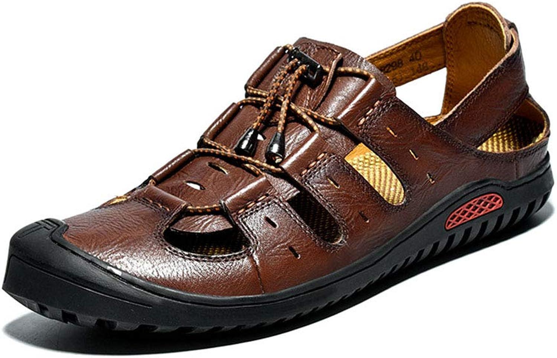 MEMIND Summer Men Sandals Outdoor Leisure Cowhide Sand Drag Non-slip Wear Resistant Large Size shoes Baotou Breathable Vacation Beach Men's shoes
