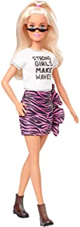 Barbie Fashionistas Doll with Long White Blonde Hair Wearing Graphic T-Shirt, Pink Animal-Print Skirt, Translucent Black ...