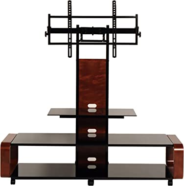 "TransDeco casters 35-85"" Curved Wood TV Stand with Mount, 60"" W x 19.7"" D x 62.1"" H, Dark Oak/Black"
