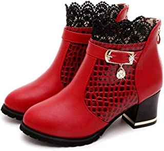 Women Boots,Boomboom Fall Winter Women's Bootie Lace Patchwork Ankle Boots Shoes