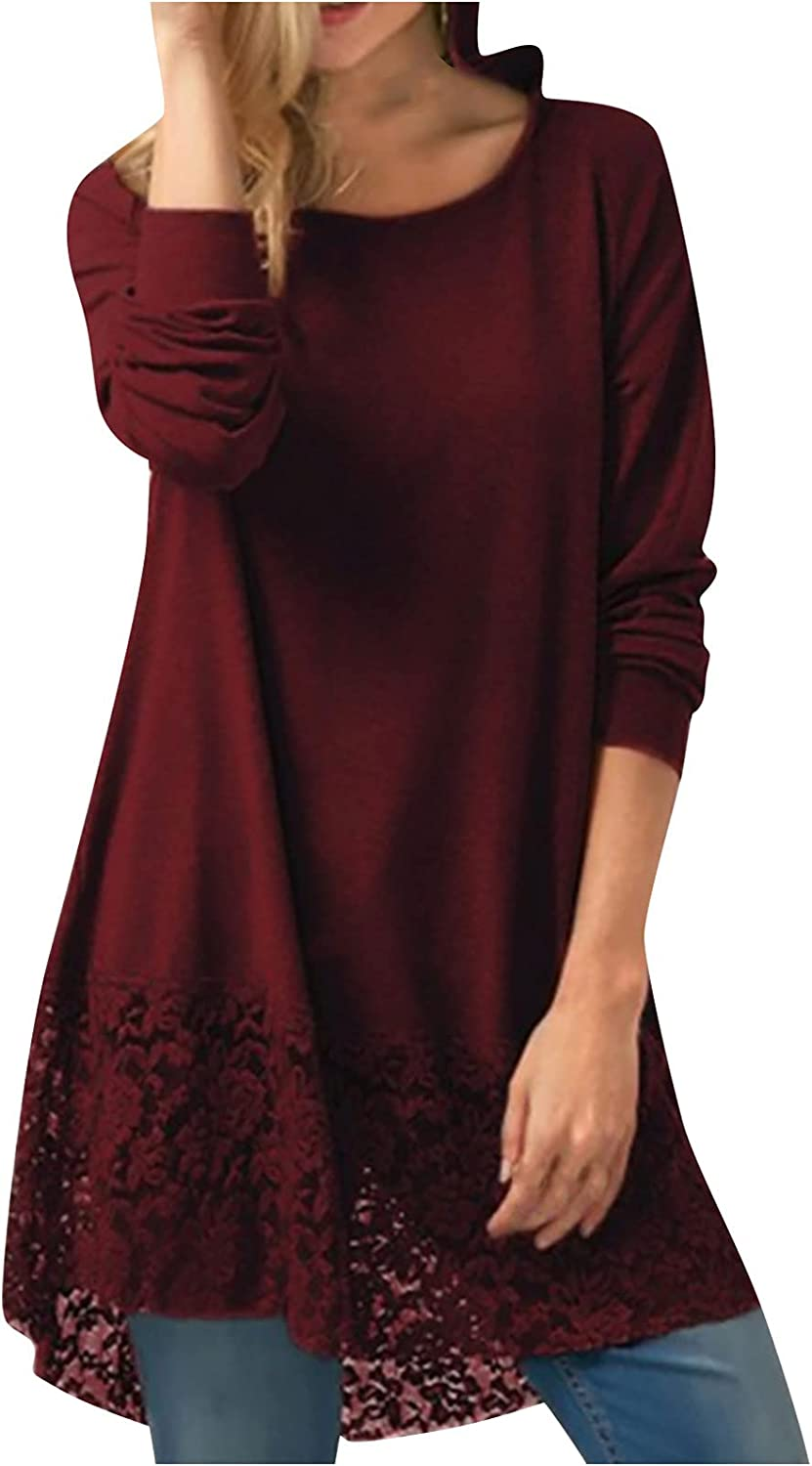 Plus Size Tunic Tops for Women Long Sleeve T-Shirts Casual O Oneck Lace Pullover Fashion Hooded Sweatshirt