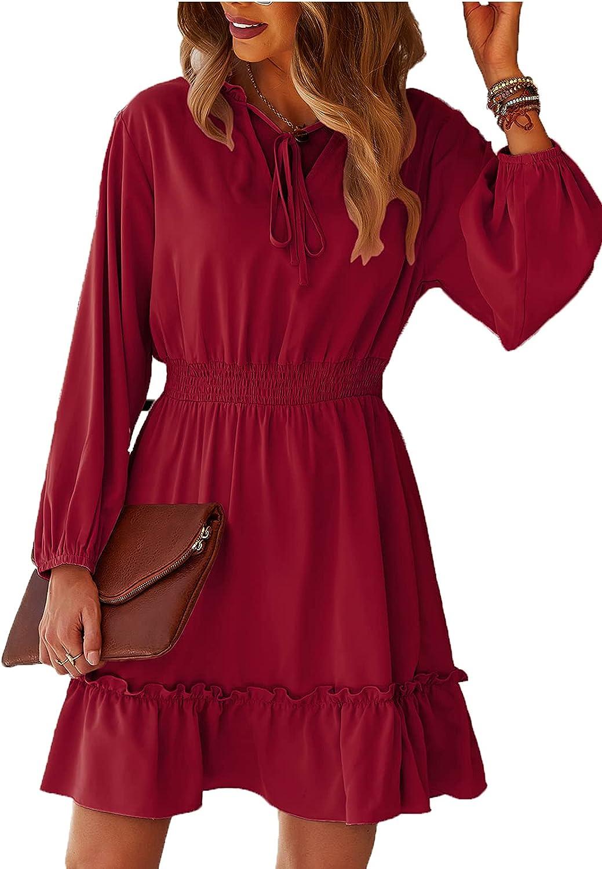 Adibosy Women's Summer Casual Dress V Neck Long Sleeve Ruffle Mini Dress High Waist Flowy Swing Tunic Dresses
