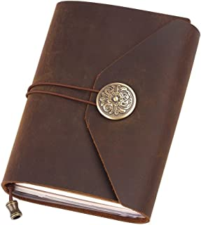 Leather Notebook Journal, Handmade Vintage Leather Notebook Refillable, Antique Soft Leather, Gift for Men & Women, Perfect to Write in, Travelers Journal, Portable Journal, 5.1 × 4.1 Inches, Brown