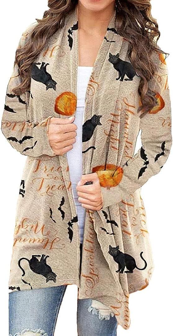 Women's Halloween Cardigan Casual Summer Lightweight Open Front Long Sleeve Coat Plus Size