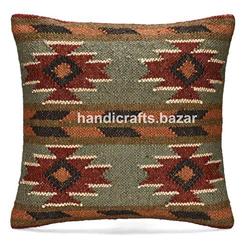 Handicraft Bazarr Funda de cojín Kilim de yute para cojín étnico de yute, funda de cojín decorativa para sala de estar, funda de cojín Kilim de 45 x 45 cm