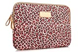 Zonman Bohemian Style Canvas Fabric Laptop Notebook Computer MacBook MacBook Pro MacBook Air Sleeve Case Bag Cover MacBook Sleeve Office Tote Briefcase Carry Case (Pink Leopard)
