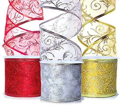 Christmas Ribbon Wired Sheer 2.5 Organza Wire Edged Xmas Ribbons Wired Red, Gold, Silver/White Glitter Xmas Gift Wrapping, Tree Decoration Crafts, Holiday Craft, Gifts Wrap 30 Yards / 10 Yard Ea. Roll