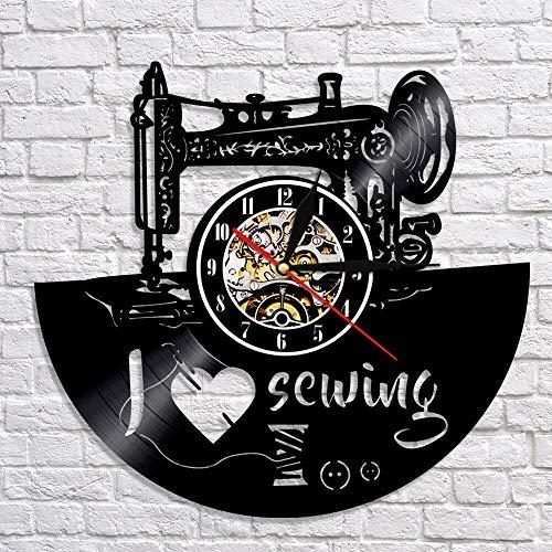 QIANGTOU Reloj de Pared Acolchado para sastrería, me Encanta Coser, Reloj de Pared para decoración del hogar, máquina de Coser, Reloj de Registro de Vinilo, Reloj de reg