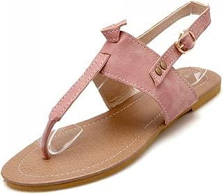 Kinggolder Women Sandals Leather Thong Shoes Flat Heel Cow Muscle Slip Resistance Soft Beach Shoes Flats Sandals Plus Size 34-42